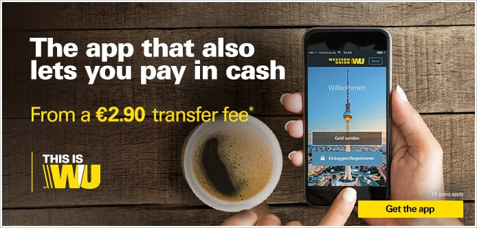 The App that also lets you pay in cash. Now from 2,90 EUR transfer fee*