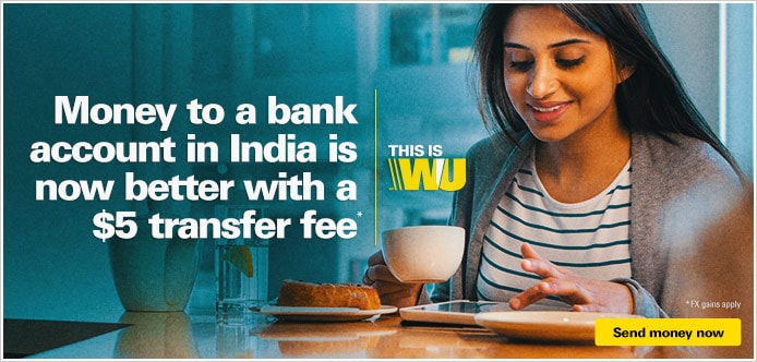 Send money to an Indian Bank Account from $5