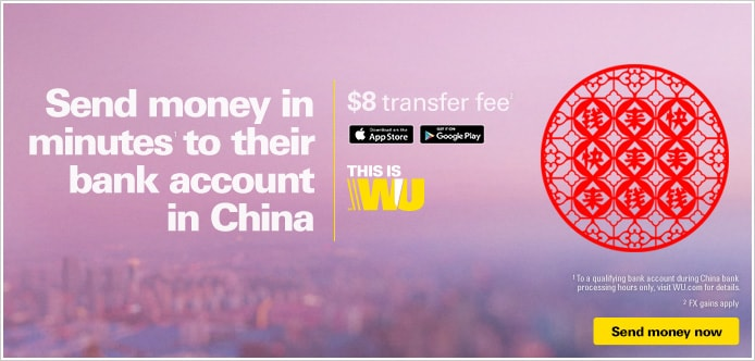 Send money to a bank account in China in minutes