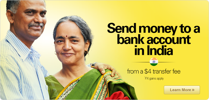 Transfer money to an Indian bank account for $4