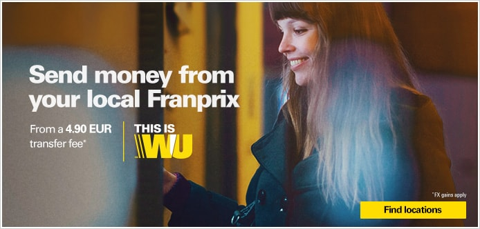 Western Union money transfer service is available at your local Franprix!