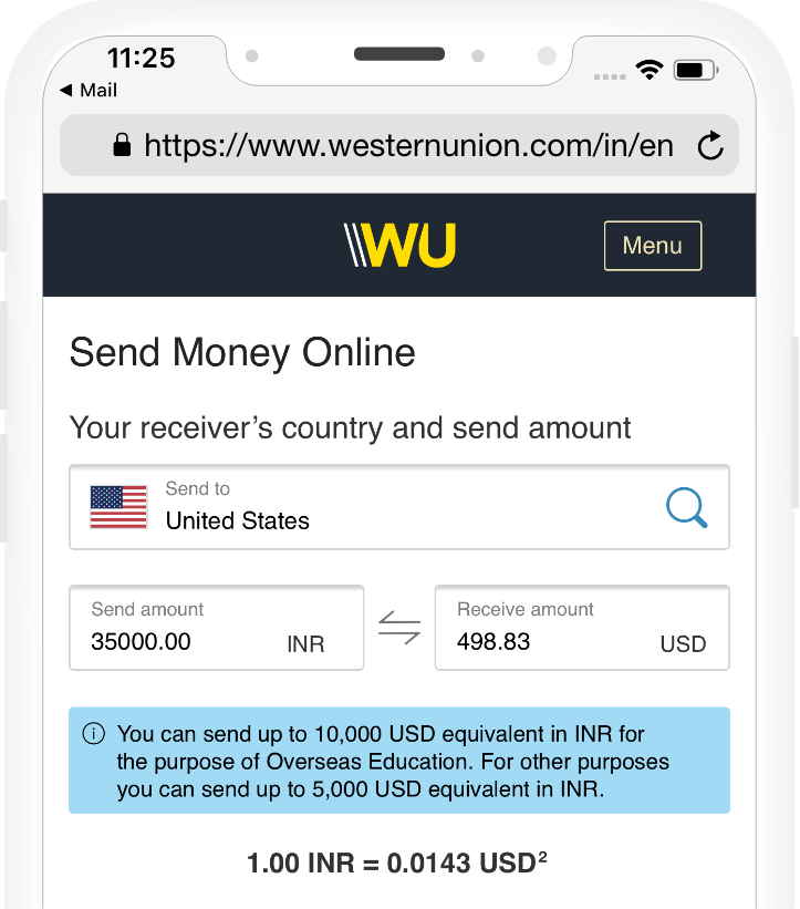 International Money Transfers Western Union India