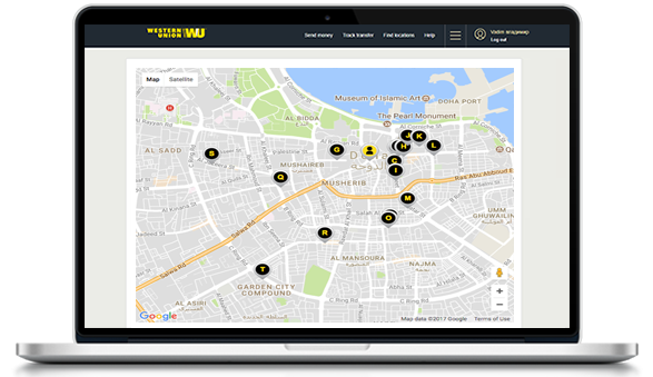 Find the nearest Western Union agent location in Qatar