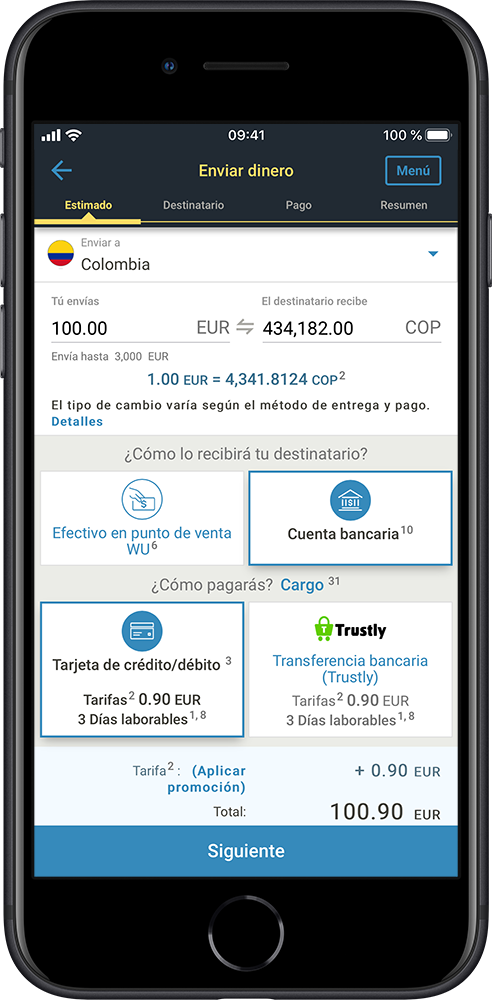 Application screen - check exchange rates