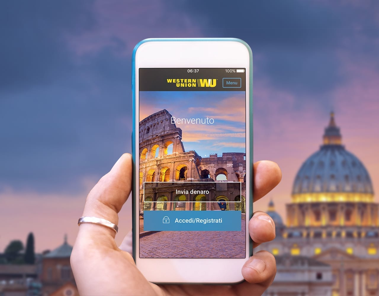 iPhone in a hand with Rome view