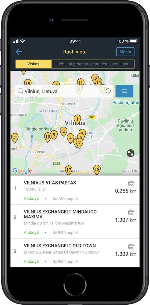 Application screen - find locations