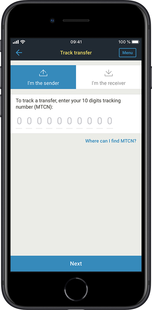 Application screen - track a transfer