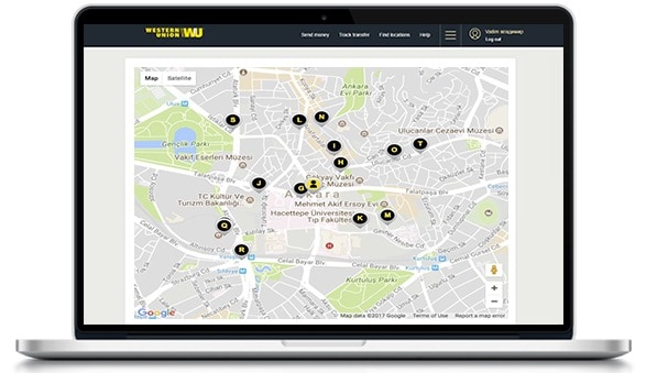Find the nearest Western Union agent location in Turkey