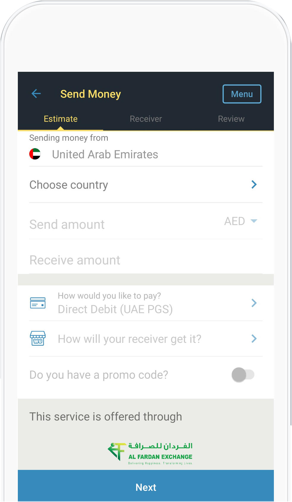 Transfer money around the world using Western Union mobile app