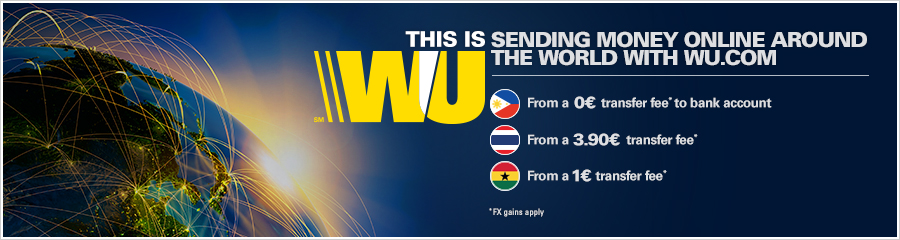 Look below at each country to find options for sending money online with Western Union.