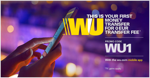 Send money online for the first time with the wu.com mobile app and get a 0 EUR transfer fee* transaction.