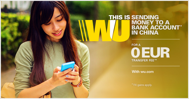 Send money online to receivers in China with wu.com for a 0 EUR transfer fee*.