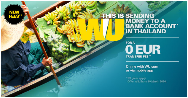 Send money online to Thailand with Western Union.
