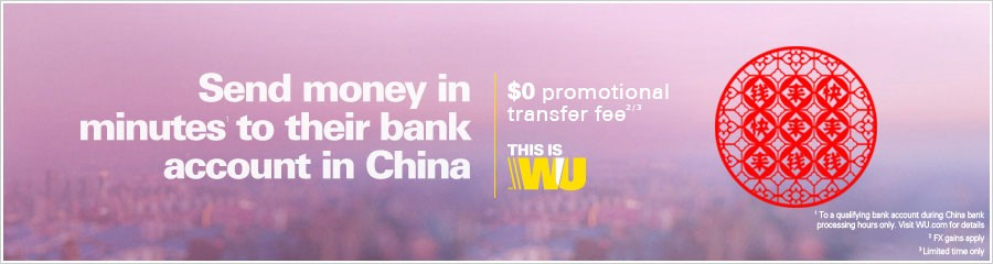 Transfer money to a bank account in China
